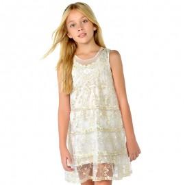 Mayoral 6922-18 Sukienka dziewczęca tiul haftowany kolor Kremowy