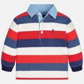 Mayoral 2113-52 Koszulka chłopięca polo paski kolor Jagoda