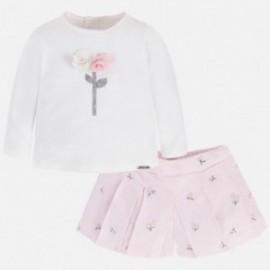 Mayoral 2217-17 Komplet dziewczęcy bluzka i bermudy z haftem kolor Róż