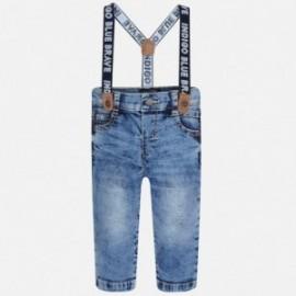 Mayoral 2569-43 Spodnie chłopięce jeans z szelkami kolor niebieski