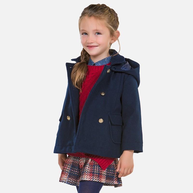 Mayoral 4422-43 Płaszcz dziewczęcy dwurzędowy z kapturem kolor Granat