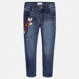 Mayoral 4545-85 Spodnie dla dziewczynki długie jeans z haftem kolor granat