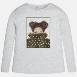 Mayoral 7061-90 Koszulka dziewczęca z długim rękawem kolor Perłowy