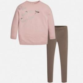 Mayoral 7733-20 Komplet dziewczęcy bluza i leginsy koronka kolor Kawowy