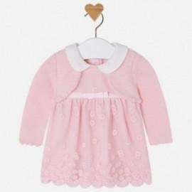 Mayoral 2823-53 Sukienka dla dziewczynki haftowana ze swetrem kolor róż