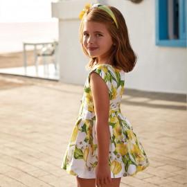 Mayoral 3934-57 Sukienka dziewczęca z satyny kolor Żółty