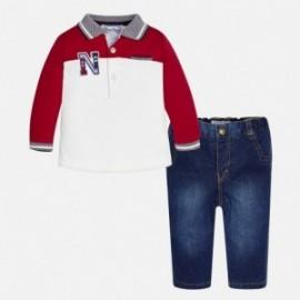 Mayoral 2541-93 Komplet chłopięcy polo i spodnie jeans kolor Jemioła