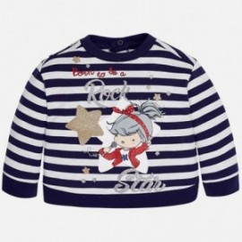 Mayoral 2455-89 Sweter dziewczęcy w paski kolor Granatowy