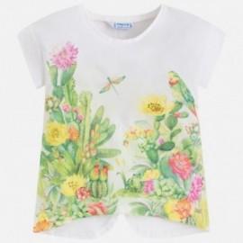 Mayoral 3028-9 Koszulka dziewczęca kaktus kwiatki kolor Kremowy
