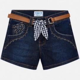 Mayoral 3210-82 Szorty dziewczęce jeans z paskiem kolor granat