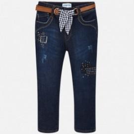 Mayoral 3504-63 Spodnie dziewczęce z paskiem jeans kolor granat