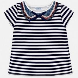 Mayoral 6014-39 Koszulka dziewczęca w paski z cekinami kolor Granat