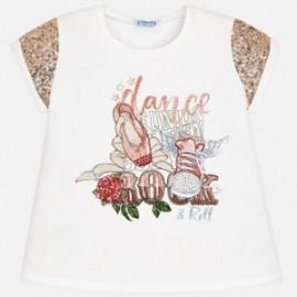 Mayoral 6024-65 Koszulka dziewczęca z cekinami kolor Krem