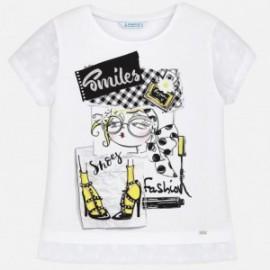 Mayoral 6028-19 Koszulka dziewczęca z krótkim rękawem kolor biały/czarny