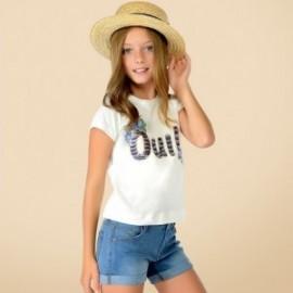 Mayoral 6046-10 Koszulka dziewczęca krótki rękaw cekiny kolor biały