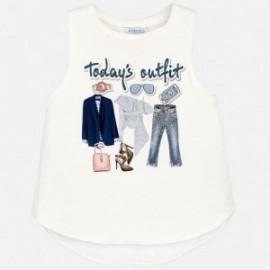 Mayoral 6070-44 Koszulka dziewczęca na ramiączkach kolor biały/niebieski