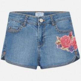 Mayoral 6202-84 Szorty dziewczęce jeans z haftem kolor niebieski