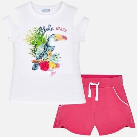 Mayoral 6220-36 Komplet dziewczęcy bluzka i szorty z cekinami kolor biały/fuksja