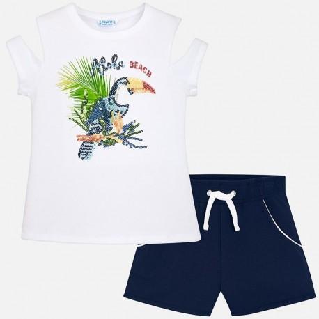 Mayoral 6220-38 Komplet dziewczęcy bluzka i szorty z cekinami kolor biały/granat