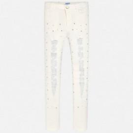 Mayoral 6508-78 Spodnie dziewczęce długie kolor Kremowy