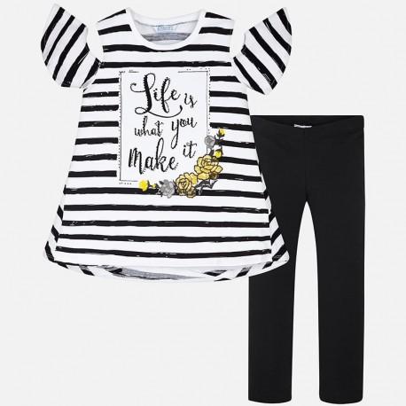 Mayoral 6708-36 Komplet dziewczęcy koszulka w paski i leginsy kolor Czarny