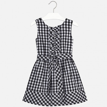 Mayoral 6950-15 Sukienka dziewczęca w kratkę vichy kolor Czarny