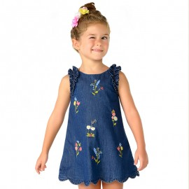 Mayoral 3984-5 Sukienka dziewczęca z haftem kolor granat