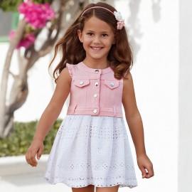 Mayoral 3976-29 Sukienka dziewczęca ażurkowa spódnica kolor Różowy