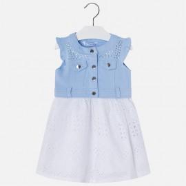 Mayoral 3976-30 Sukienka dziewczęca ażurkowa spódnica kolor Błękitny