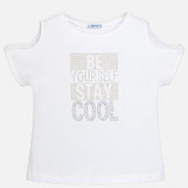 Mayoral 6016-49 Koszulka dziewczęca krótki rękaw litery dżety kolor Biały