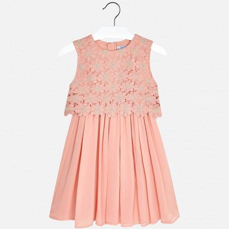 Mayoral 6924-19 Sukienka dziewczęca z koronką kolor różowy