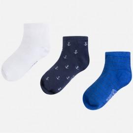 Mayoral 10371-55 Komplet 3 par skarpetek krótkie kolor niebieski