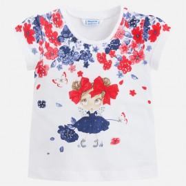 Mayoral 3016-59 Koszulka k/r lalka kwiatki kolor Granatowy