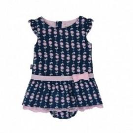Boboli 205029-9787 Sukienka dziewczeca z majteczkami kolor granat/róż