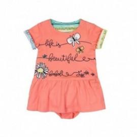 Boboli 215086-5062 Sukienka dziewczęca z majteczkami kolor pomarańcz