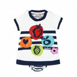 Boboli 225076-1100 Sukienka dla dziewczynki z majteczkami kolor biały/granat