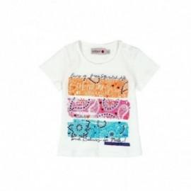 Boboli 235022-1111 Bluzka dziewczęca z nadrukiem i cekinami kolor krem