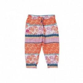Boboli 235055-9795 Spodnie dla dziewczynki popelinowe we wzorki kolor pomarańcz