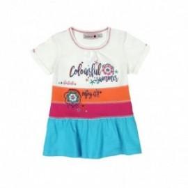Boboli 235112-1111 Sukienka dla dziewczynki w pasy z koralikami kolor krem
