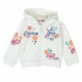 Boboli 235145-1111 Bluza dziewczęca zapinana z odpinanym kapturem kolor krem