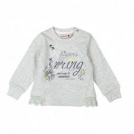 Boboli 245001-8072 Bluza dziewczęca z aplikacją i dżetami kolor szary
