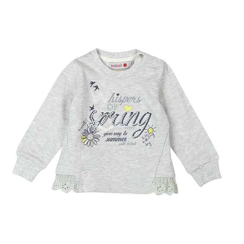 ae8eb2db56 Boboli 245001-8072 Bluza dziewczęca z aplikacją i dżetami kolor szary