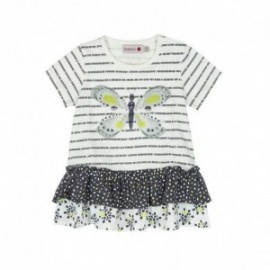 Boboli 245034-9779 Sukienka dla dziewczynki z aplikacją i dżetami kolor biały