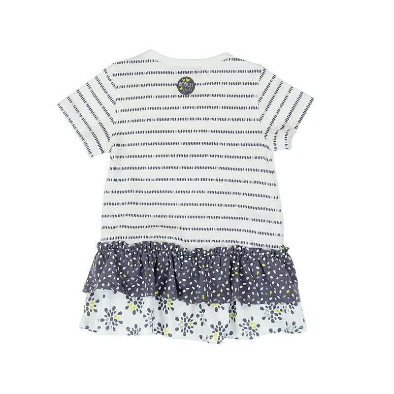 f6d9fdbf66 Boboli 245034-9779 Sukienka dla dziewczynki z aplikacją i dżetami kolor  biały