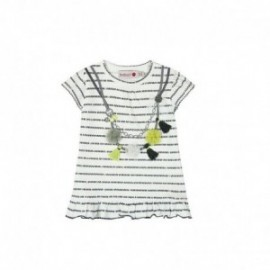 Boboli 245045-9779 Sukienka dziewczęca z aplikacją kolor biały