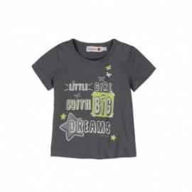 Boboli 245056-7320 Bluzka dziewczęca z nadrukiem i dżetami kolor grafit
