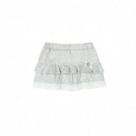 Boboli 245089-8072 Spódnica dla dziewczynki z falbankami i koronką kolor szary
