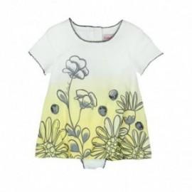 Boboli 245090-1111 Sukienka dla dziewczynki z majteczkami kolor krem