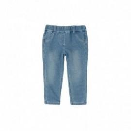 Boboli 295006-BLEACH Spodnie dla dziewczynki bawełniane z kieszonkami kolor niebieski