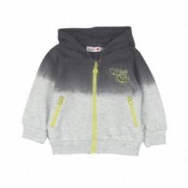 Boboli 345091-8072 Bluza chłopięca cieniowana z kapturem zapinana kolor szary